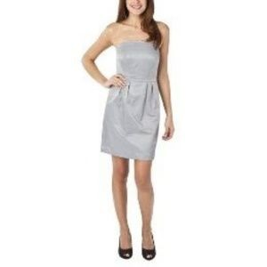 Gray Silver Strapless Cocktail Dress